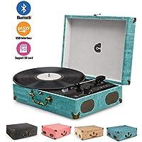 Tocadiscos Placa giratoria de vinilo giratorio Caja de resonancia retro vintage USB Bluetooth Nostalgia con altavoz Correa Aux-In RCA 33 45 78 RPM