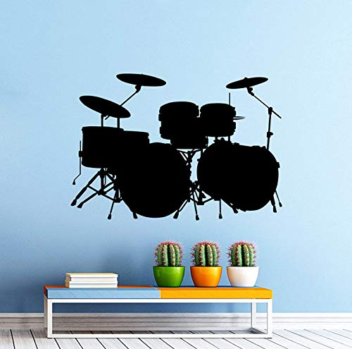 Wiwhy Vinyl Wall Sticker Music Drum Kit Drums Wall Decal Rock Band Art Design Home Bedroom Decor Music Drum Wall Art Mural 82X57Cm