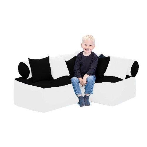 Kinder Möbel-sitzsack Ecke Sofa mit Kissen Lesen Sitzen, Erhältlich in 4 Farbe Kombinationen - Schwarz/weiß - 4