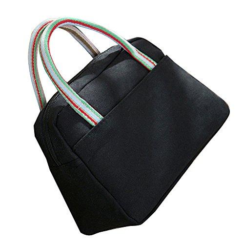 TININNA Vintage cotone Pranzo al sacco Tote Bag pranzo Organizer Holder pranzo Contenitore del pranzo Pranzo Borsetta Nero Nero