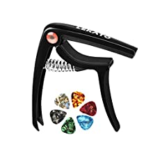 Guitar Capo,LEKATO Guitar Capo with 6 Free Guitar Picks Capotastos for Acoustic Electric Guitars Ukulele, Mandolin and Banjo Glossy Black