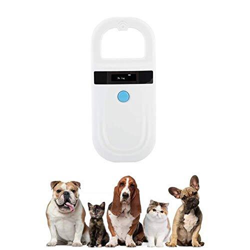QHLJX Chiplesegerät für Tiere, RFID 134.2Khz ISO FDX-B Tierchip Leser, Katzen Hund Mini Mikrochip Verfolger Handhaustier Scanner, Portable, OLED Anzeige, für Haustier-Identifizierung und Management