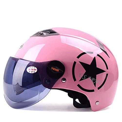 Ocean Pacific Casco- Casco Moto Elettrico Uomo Stagione Estiva Universale Semi-Coperto Luce Doppia Lente Summer Helmet Femminile 19x27cm,Pink