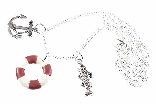 Miniblings 3er Set Maritim Kette Halskette 80cm Anker Rettungsring Fisch rot