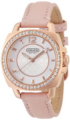 Coach 14501753Mini Boyfriend Pink Leder Rose Gold Fall - Gold Frauen Coach Uhren