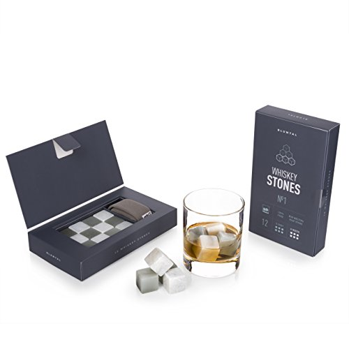 12 Whisky Steine aus Speckstein zum Whisky kühlen