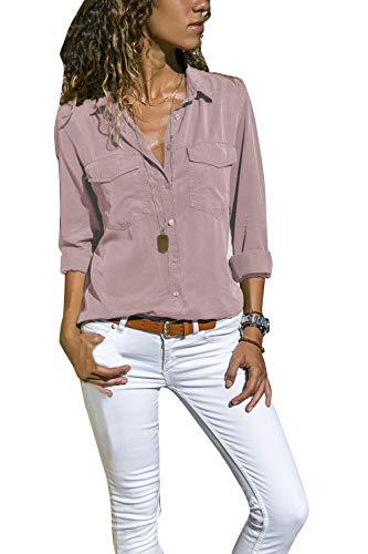 Yieune Bluse Damen Elegant Oberteil Chiffon Langarmshirt Casual V-Ausschnitt Tunika T-Shirt Tunika Hemd