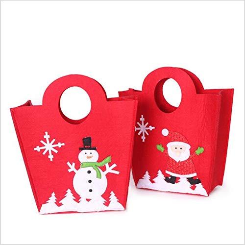 Sacchetto regalo natalizio, sacchetto di zucchero non tessuto di natale, pupazzo di neve dei cartoni animati e tote del vecchio uomo