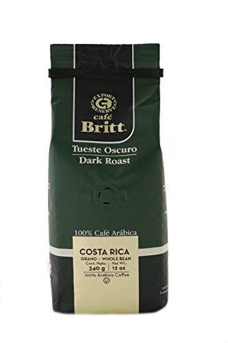 Gourmet Café Britt Costa Rica Tueste Oscuro/Dark Roast 100% Café Arábica ganze Bohnen, 340 g Packung