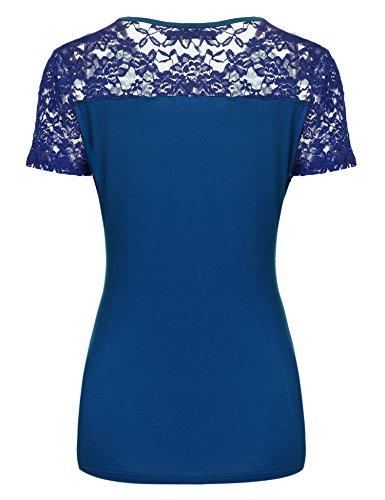 Zeagoo Damen Kurzarm T-Shirt aus Floral Spitze Basic Shirt Spiztenshirt Tunika Baumwolle Tops Hemd Blau