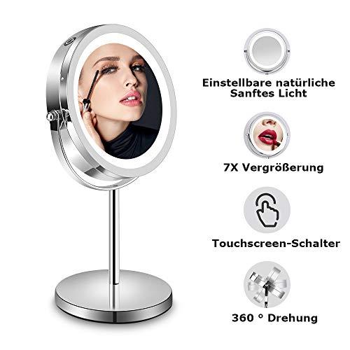 LED Kosmetikspiegel - Tischspiegel mit LED-Beleuchtung und 7-Facher Vergrößerung, 360° Schwenkbar Rasierspiegel, Weiß Licht, 32CM Höhe, Doppelseitig Rostfrei Badspiegel für Kosmetik Rasur Bad Zuhause - Vergrößerungsspiegel Mit Licht