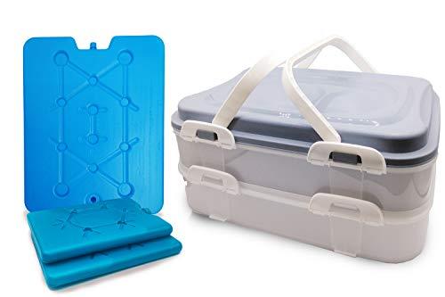 Radami Partycontainer Kuchenbehälter Transport Box Lebensmittelbox 2 Etagen Gitter Hebeeinsatz mit 3 Kühlakkus (Pastell grau)