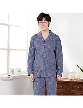 Loveni Pijama para Hombres 2 Piezas Set Pijamas De Manga Larga Estampados Grises Prendas De Vestir para Hombres...