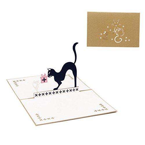 ZOOMY 3D Pop Up Katze und Maus Tier Geburtstag Grußkarte Weihnachtseinladung 10x15cm
