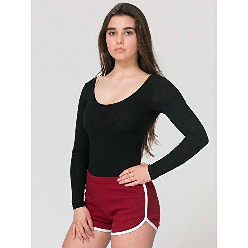 American Apparel - Short de sport en coton - Femme Gris/Blanc