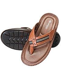 Copper Plus Men's Leather Flip Flop and Outdoor Sandals Tan/Blue