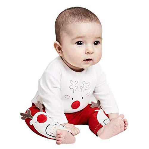 Mbby Tute Neonato Natale 3-24Mesi Ragazzi E Ragazze Bambino Set Pagliaccetto + Pantaloni Stampe Renna Cotone Caldo Tute 2 Pezzi Fumetto Outfits Animale Natalizi Natalizio Invernale Autunno