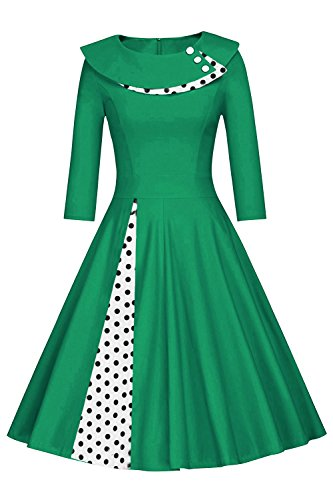 Damen lamgarm Rockabilly Vintage Tanzkleid Festkleid Pin up Polka Dots Kurz Navyblau L