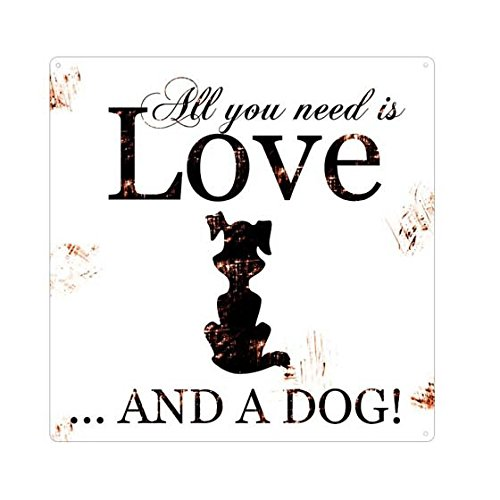 Edles Metallschild Shabby Shic 'All you need is love and a dog' Hunde Gefahrenschild Türschild Warnschild -- Hundewarnschild f