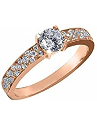 Silvernshine 0.8 Cts Round Cut Sim Diamond Solitaire With Accents Ring In 14KT White Gold PL