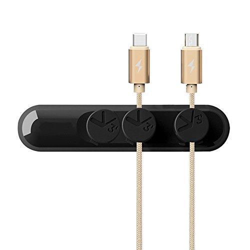 Philonext Organizador de cable multiusos,Cable con cierre de clip magnético, gestión de cables para escritorio, Pack 3 hebillas para cables- para teléfono móvil (menos de 4 m m), en color negro
