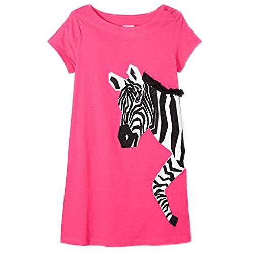 AIni Baby Mädchen Kleidung, Sommer Mode Elegant Kleinkind Baby Mädchen Stereoskopische Karikatur Stern Zebra Kleid Kurzarm Kleidung BeiläUfiges Strand Festlich Partykleid(100,Rosa) (Rosa Zebra-kleid Heiß)
