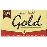Mysore Sandal Gold Soap, 125 Grams Per Unit (Pack of 4) - Purest Sandalwood Soap - 100% Pure Essential Oils - Grade 1 Soap -