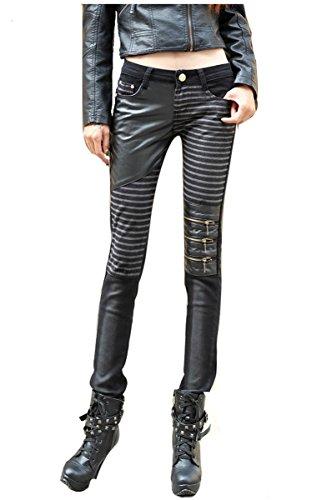 Cuckoo Frauen Schwarze Lederhose Hohe Taille PU Hosen Leggings mit Taschen (Weiblich Kostüm Biker)
