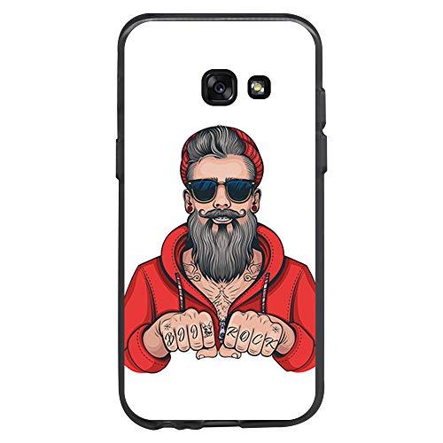 BJJ SHOP Schwarz Hülle für [ Samsung Galaxy A3 2017 ], Klar Flexible Silikonhülle, Design: Hipster Man, Tattoos mit Bart und Sonnenbrille