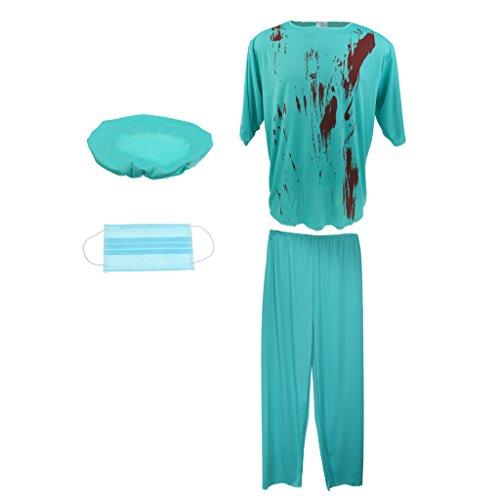 MagiDeal Herren Zombie Chirurg Arzt Kostüm Halloween (Halloween Doktor Männer Kostüm Für)