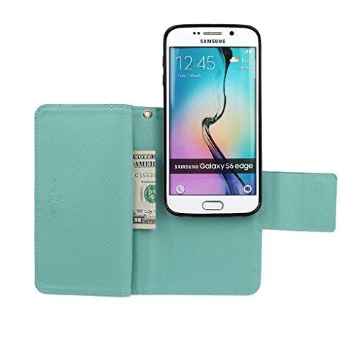 Hülle für Samsung S6 Edge, xhorizon FX Prämie Leder Folio Case [Brieftasche] [Magnetisch abnehmbar] Uhrarmband Geldbeutel Vogel Tasche Hülle für Samsung Galaxy S6 Edge mit einer Auto Einfassungs Halte Marineblau mit Schwarz Auto Einfassung Halter