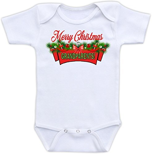 8578e15582 DoozyDesigns Merry Christmas Grandparents - Cute Christmas Pregnancy  Announcement Baby Bodysuit (18M Long Sleeve Bodysuit