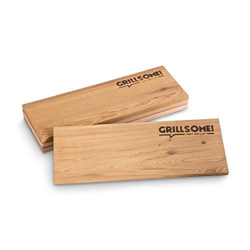 41Nj95vx3PL - 4 XL Räucherbretter aus kanadischem Zedernholz (40 x 15 x 1,5 cm) von Grillsome! Grillbretter, Grill-Planken 4 Stück (2 x 2er Set glatte und raue Oberfläche) mehrmals verwendbar, Raucharoma, Planke, Smoker Zubehör