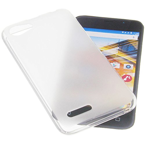 foto-kontor Tasche für Archos 40 Neon Gummi TPU Schutz Handytasche transparent weiß