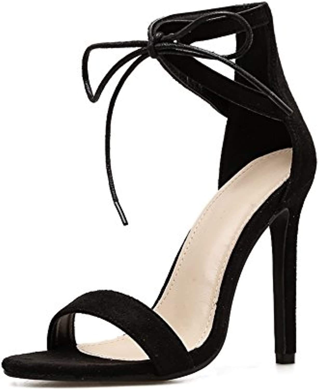 HIGHXE Scarpe da Donna Summer New Sandali Sandali Sandali Fish Mouth Simple Tie Street Style Stiletto Sandali con Tacco Alto,... | Fashionable  758301