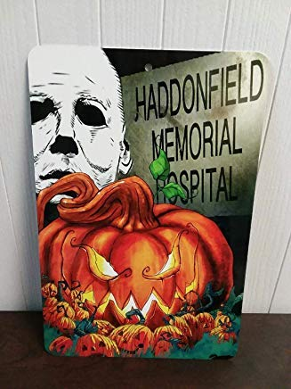 Beyyins gruselige Halloween-Wandschild Horror-Film-Dekorationen Halloween Michael Myers Haddonfield Custom Holz Halloween Schilder EvilGrin Geschenke