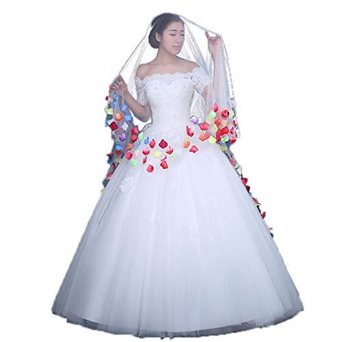 Goney velo da sposa, nuovo avorio bianco lungo morbido filato velo da sposa lunghezza del pavimento velo cattedrale di nozze stereo colore petalo velo accessori abito da sposa t1603001