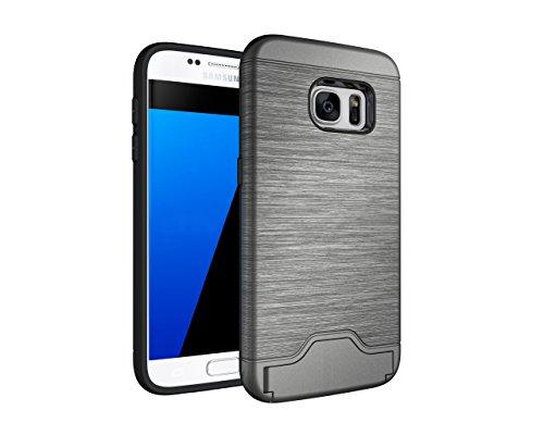Schutzhülle für Samsung Galaxy S7 2017 5.1 Zoll SM-G930F Schutzcover aufstellbares Hardcase mit Kartenfach (Grau)