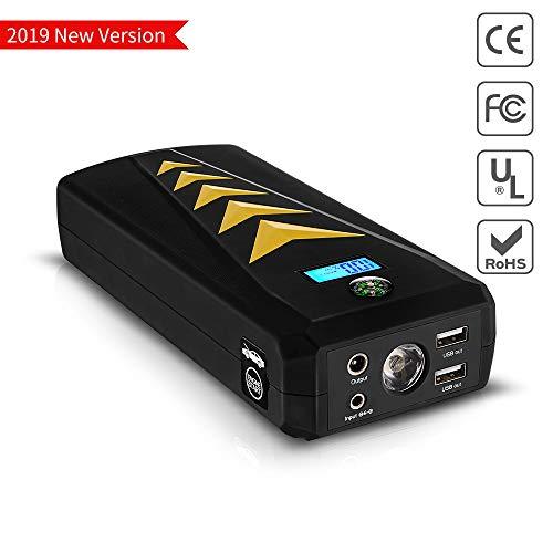 Tragbare Auto Starthilfe Powerbank 24000mAh mit 1500A Spitzenstrom | Jump Starter, 12V Autobatterie Anlasser | mit LCD Display, QC3.0 Ausgang, Typ C Anschluss für Laptop, Smartphone