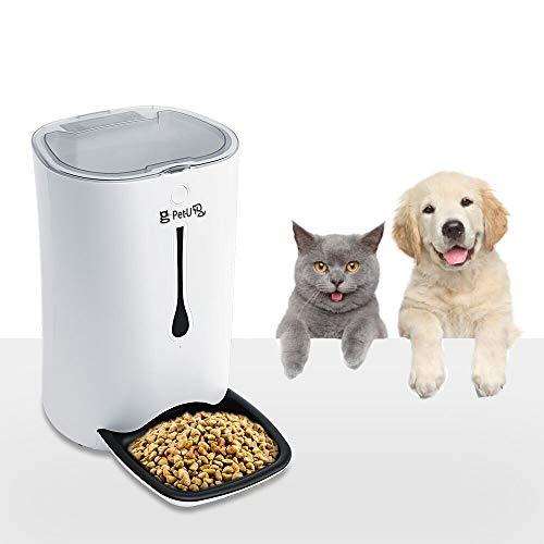 Pet-U Futterautomat für Hund Katze und Kaninchen, 6L Große Kapazität Automatischer Futterspender mit Timer/Tonaufnahme bis 8 Sekunden/LCD Display, Batterie oder Netzteil verbindbar