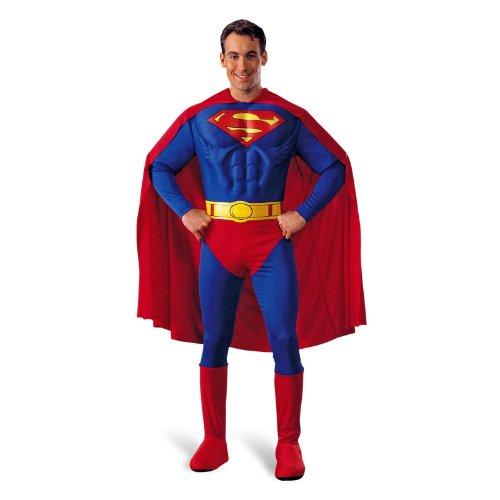 Superman - Kostüm mit Muskeleinsätzen, Partykostüm, Umhang, Cape, Beinstulpen - M