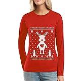 Rentier im Schnee mit Schneemänner Weihnachts Frauen Langarm-T-Shirt Large Rot