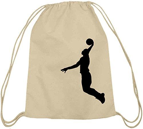 Shirtstreet24, BASKETBALL PLAYER, NBA Sport Baumwoll natur Turnbeutel Rucksack Sport Beutel Natur