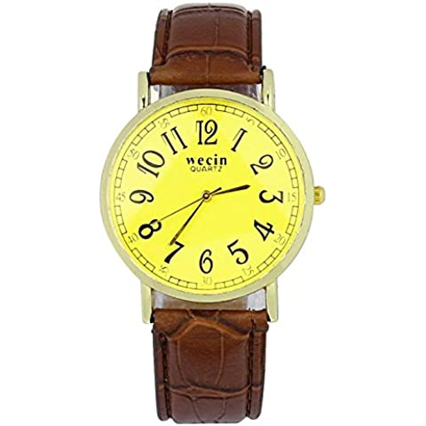 brovy (TM) Fashion Golden Luxury Delicato da uomo Uomo Cinturino in pelle al quarzo orologio da