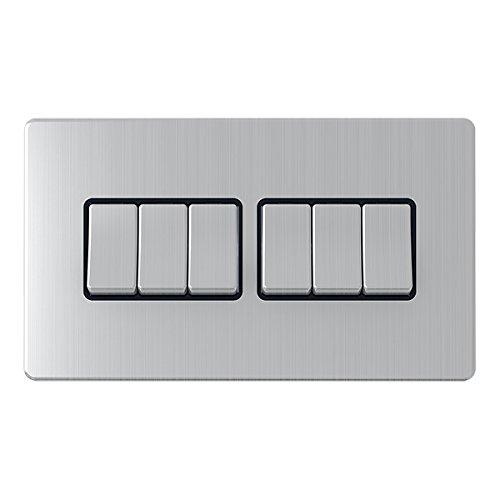 AET SL6GSWIBS Einbau-Kippschalter, 6Einführungen, 10A, schraubenlos, schwarz, Metall -