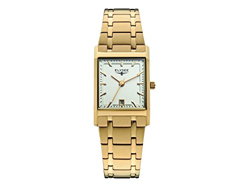 ELYSEE Women's Square Lady Gold-Tone Steel Bracelet Gold Plated Case Quartz Silver-Tone Dial Watch 83807
