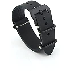 Owfeel Black Leather Replacement Watch Band Strap Belt 22mm
