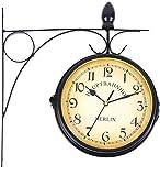 Iglobalbuy staffa di montaggio per esterni ed interni a doppia faccia orologio da parete Train station Garden Clock