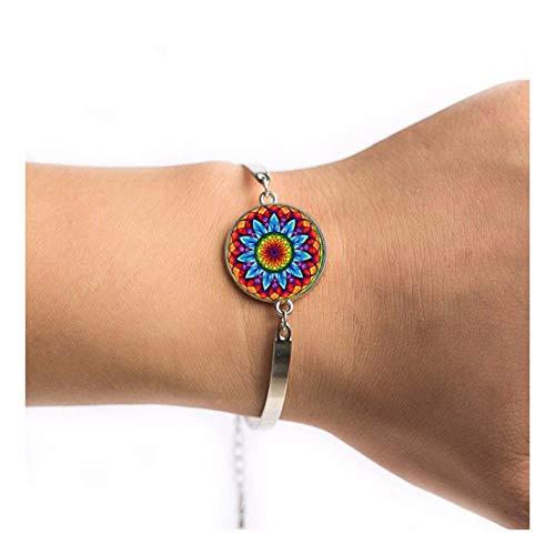 YIYIYYA Damen Armband Im Indischen Stil Yoga Schmuck Armband Symbol Buddhismus Zen Einzigartige Bunte Mandala Blume Armbänder, 01.
