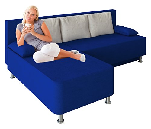 VCM Ecksofa Schlafsofa Sofa Couch mit Schlaffunktion Gästebett Bettsofa Sofabett Blau 81 x 203 x 78 cm